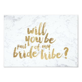 Gold chic marble bride tribe bridesmaid 9 cm x 13 cm invitation card