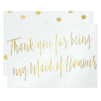 "Gold Chic ""Thank you for being my maid of honour"" Card"