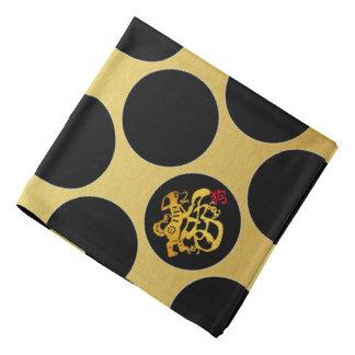 Gold Chinese Papercut Black Dots G Bandana