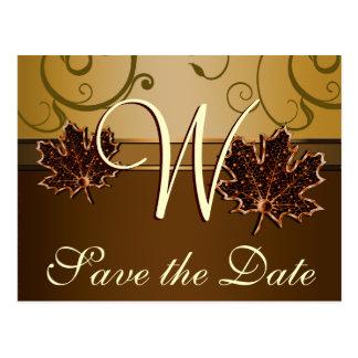 Gold & Chocolate Brown Fall Wedding Save the Dates Postcard