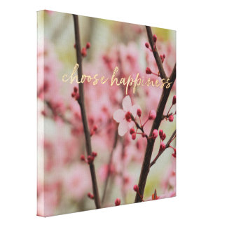 Gold Choose Happiness Cherry Blossom Floral Canvas Print