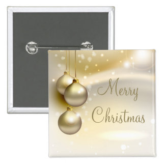 Gold Christmas Balls on Gold 15 Cm Square Badge