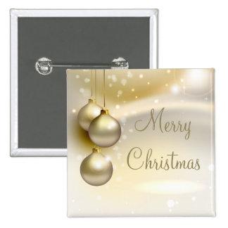 Gold Christmas Balls on Gold 15 Cm Square Badge