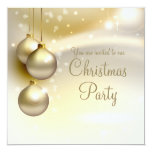 Gold Christmas Balls on Gold Christmas Party 13 Cm X 13 Cm Square Invitation Card