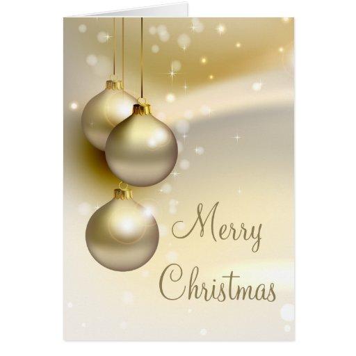 Gold Christmas Balls on Gold Greeting Card