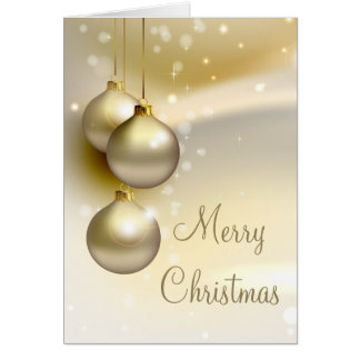 Gold Christmas Balls on Gold Greeting Cards