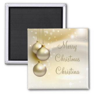 Gold Christmas Balls on Gold Fridge Magnets