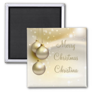 Gold Christmas Balls on Gold Square Magnet