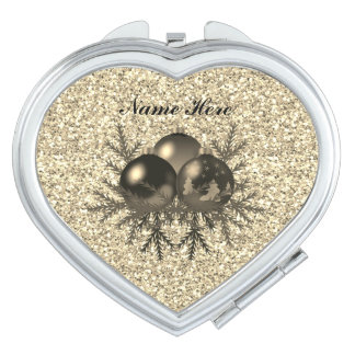 Gold Christmas Baubles On Gold Glitter Compact Mirrors