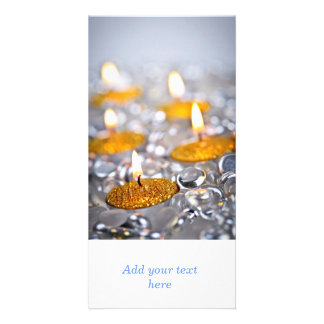 Gold Christmas candles Custom Photo Card