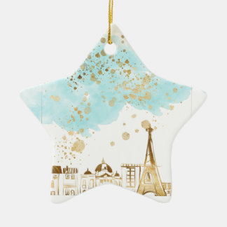 Gold Christmas City with Blue Clouds and Glitter Christmas Ornament