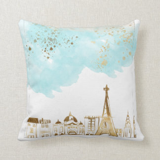 Gold Christmas City with Blue Clouds and Glitter Cushion