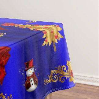 Gold Christmas Decorations on Blue Tablecloth