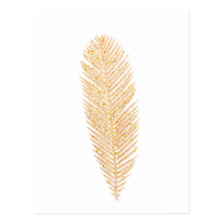 Gold Christmas Feather Postcard