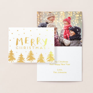 Gold Christmas Holiday Trees | Foil Note Card