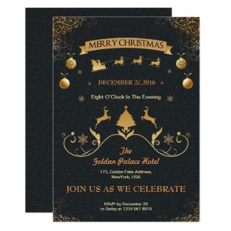 Gold Christmas Invitation Card