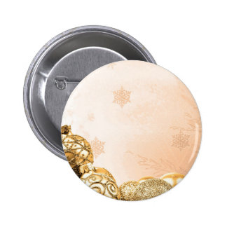 Gold Christmas Ornaments and Snowflakes 2 Inch Round Button