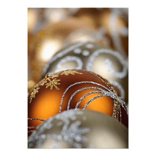 Gold Christmas ornaments closeup Personalized Invitation