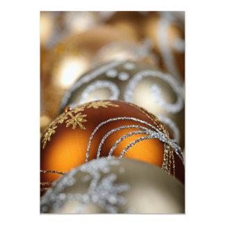 "Gold Christmas ornaments closeup 5"" X 7"" Invitation Card"