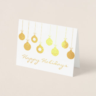Gold Christmas Ornaments Holiday Card