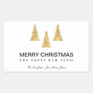 Gold Christmas Rectangular Sticker
