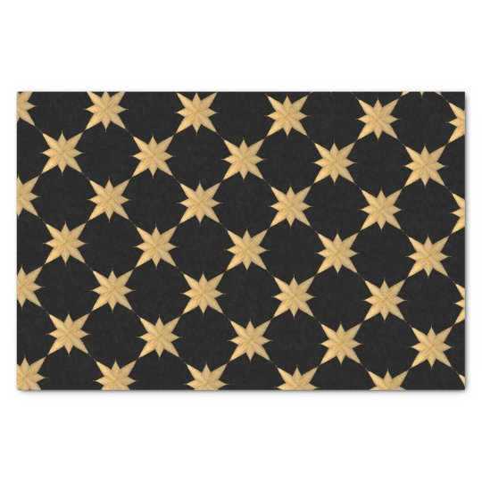 Gold Christmas Sketched Star on black Tissue Paper