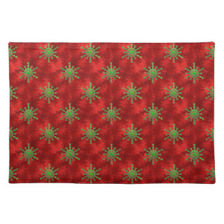 Gold Christmas Star Bursts Red Pattern Holiday Placemats