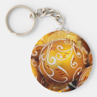 Gold Christmas Tree Balls Keychain