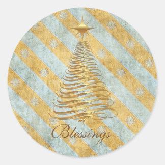 Gold Christmas Tree Blue Stars Round Sticker