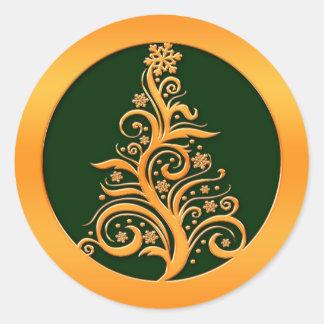 Gold Christmas Tree Classic Round Sticker