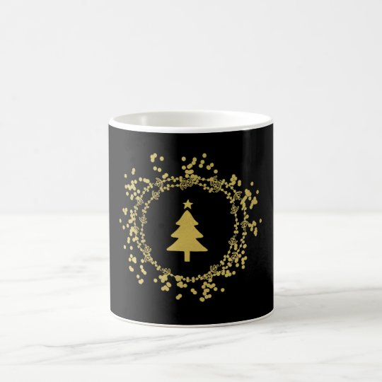 Gold Christmas Tree Decorative Coffee Mug - Black
