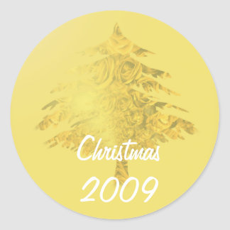 Gold Christmas Tree filled with Roses Sticker