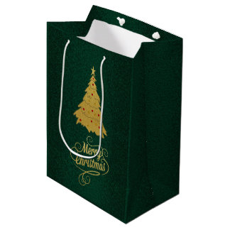 Gold Christmas Tree Holiday Textured Gift Bag