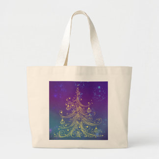 Gold Christmas Tree Motif Purple Teal Large Tote Bag