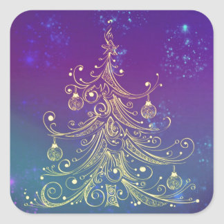 Gold Christmas Tree Motif Purple Teal Square Sticker