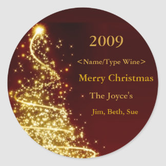 Gold Christmas Tree on Red Background Wine Label Round Sticker
