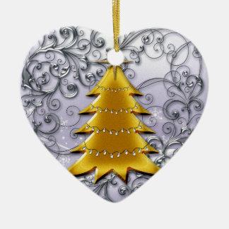 Gold Christmas Tree on Silver filligree Christmas Ornament