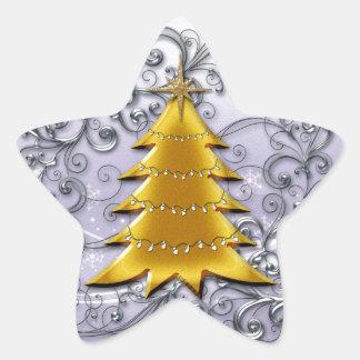 Gold Christmas Tree on Silver filligree Star Sticker