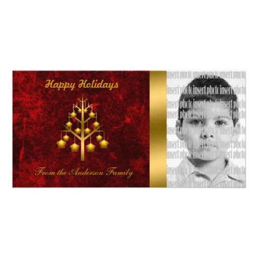 Gold Christmas Tree Photo Cards