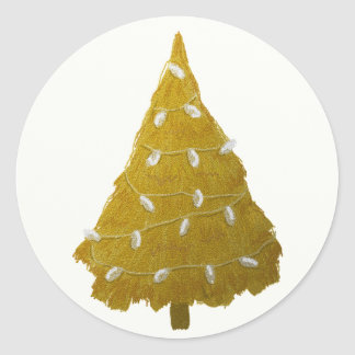 Gold Christmas Tree Silver Lights Holiday Round Sticker