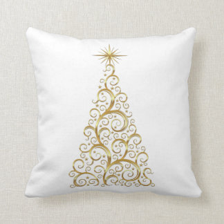Gold christmas tree throw pillow