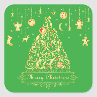 Gold Christmas Tree with Hanging Ornaments Square Sticker