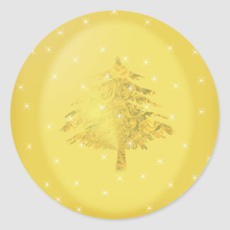 Gold Christmas Tree with Stars Round Sticker