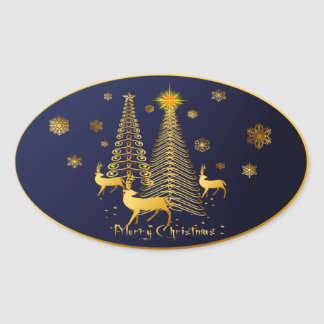 Gold Christmas Trees and Reindeer Oval Stickers