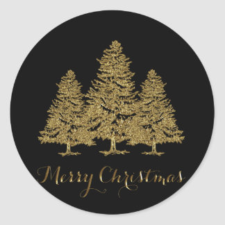 Gold Christmas Trees Stickers
