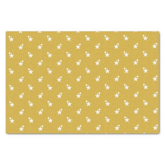 Gold Christmas white stars Tissue Paper