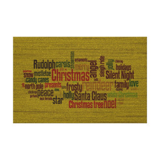 Gold Christmas Word Cloud Gallery Wrapped Canvas