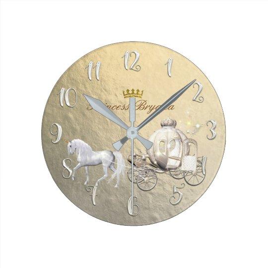 Gold Cinderella Princess Carriage & Horse Custom Round
