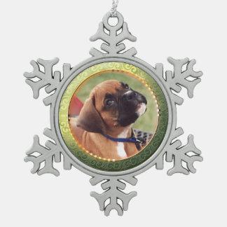Gold Circle Photo Snowflake Ornament
