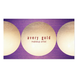 Gold Circle Purple Wood  Modern Beauty Salon Pack Of Standard Business Cards